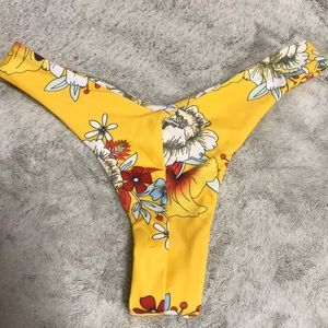 Yellow flower print bikini bottom
